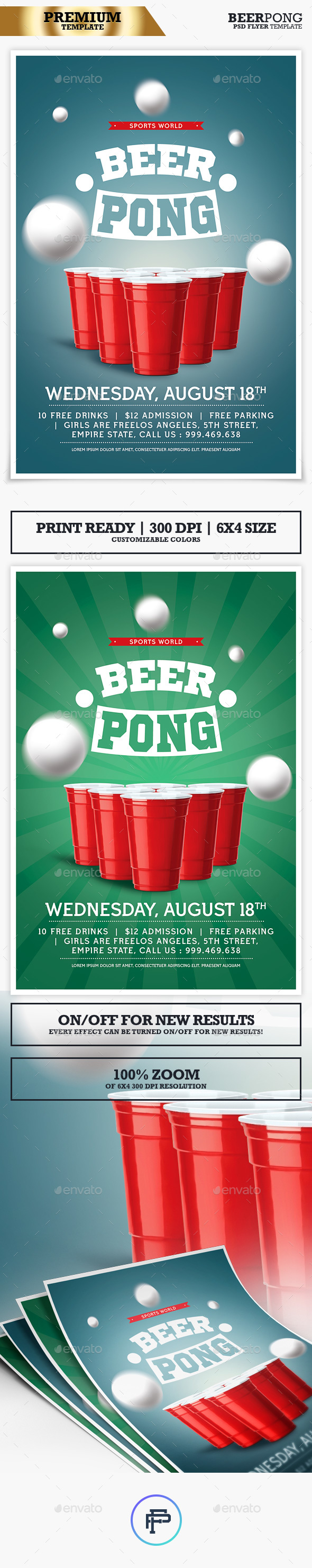 Beer Pong Tournament Flyer - Print Templates