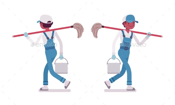 Male Janitor Walking, Rear and Front View - People Characters