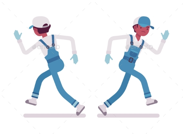 Male Janitor Running, Rear and Front View - People Characters