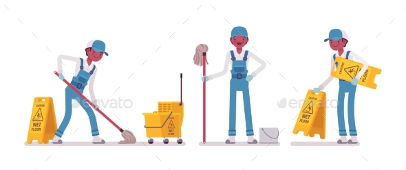 Male Janitor Mopping the Floor - People Characters