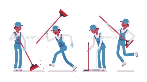 Male Janitor Sweeping the Floor with a Broom - People Characters