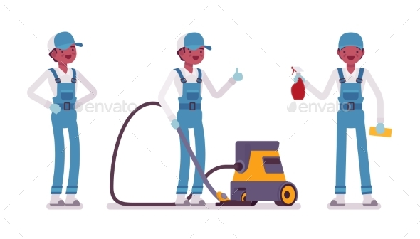 Male Janitor Standing with Vacuum Cleaner - People Characters