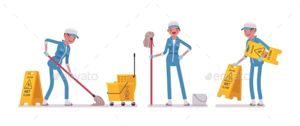 Female Janitor Mopping the Floor - People Characters