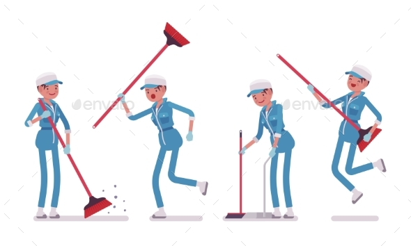 Female Janitor Sweeping the Floor with a Broom - People Characters