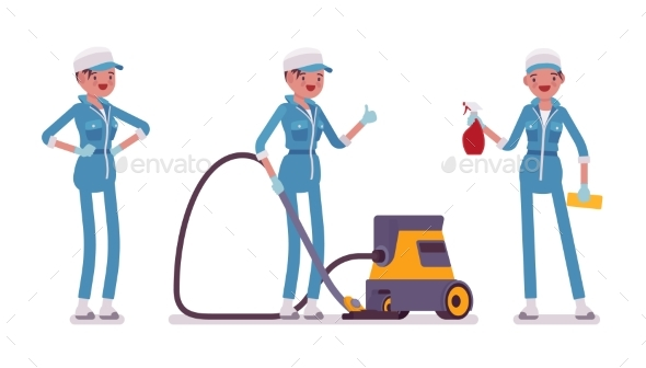 Female Janitor Standing with Vacuum Cleaner - People Characters