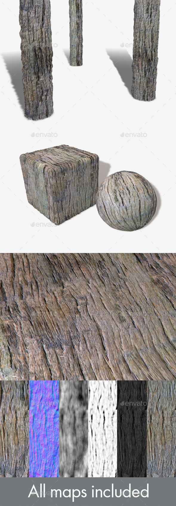 Dry Splintered Bark Seamless Texture - 3DOcean Item for Sale