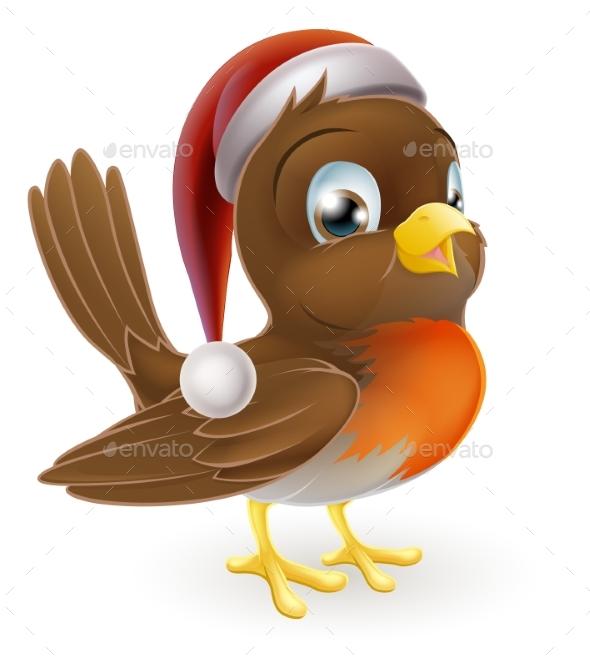 Christmas Cartoon Robin - Animals Characters