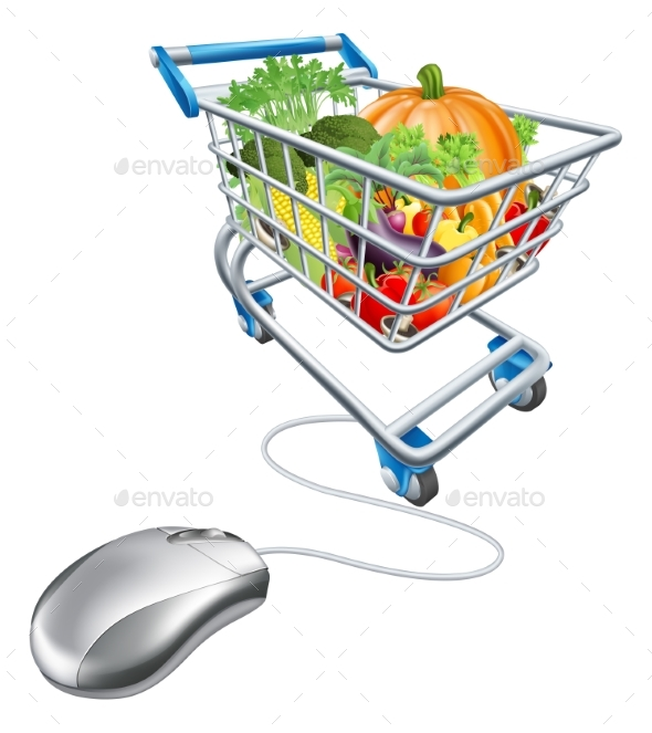 Online Grocery Shopping Concept - Food Objects