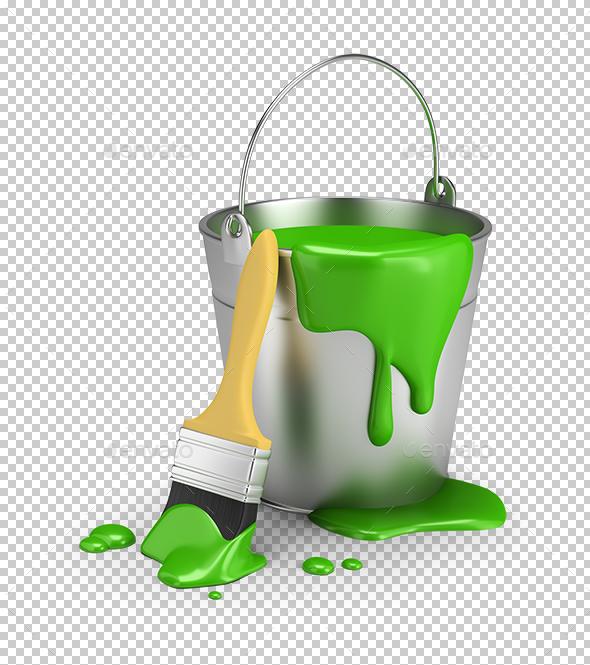 Bucket of Green Paint - Objects 3D Renders