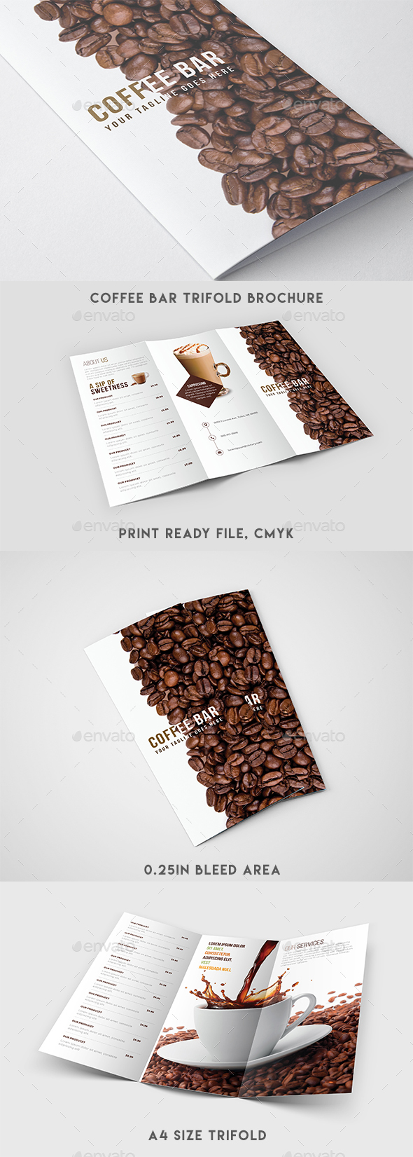 Trifold Brochure - Coffee Menu - Brochures Print Templates