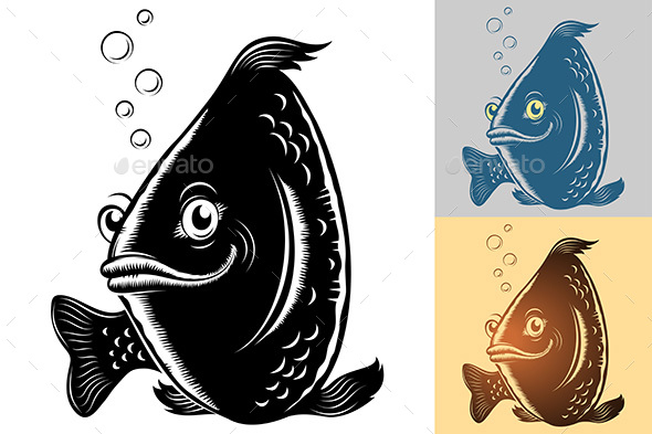Fish Smile Cartoon Vintage Monochrome Silhouette - Animals Characters