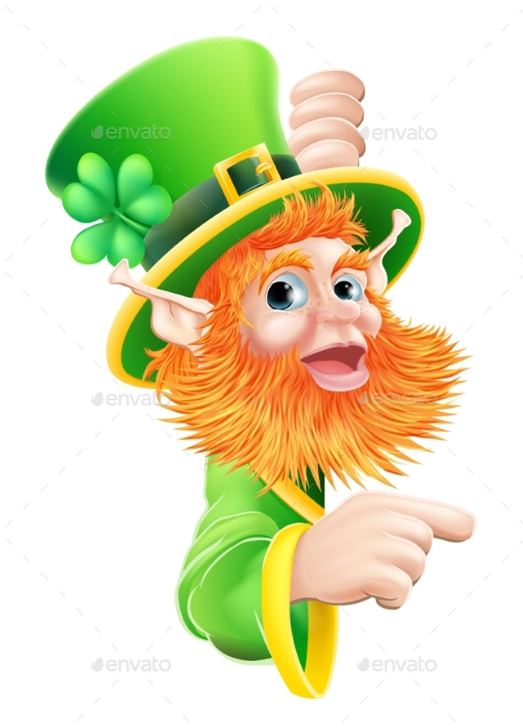 Leprechaun Pointing To Sign - Miscellaneous Characters