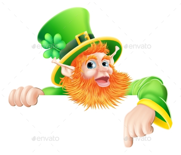 Leprechaun Pointing Down at Sign - Miscellaneous Vectors