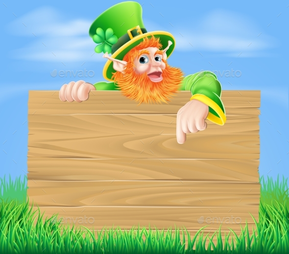 Leprechaun and Wooden Sign in Spring Field - Backgrounds Decorative