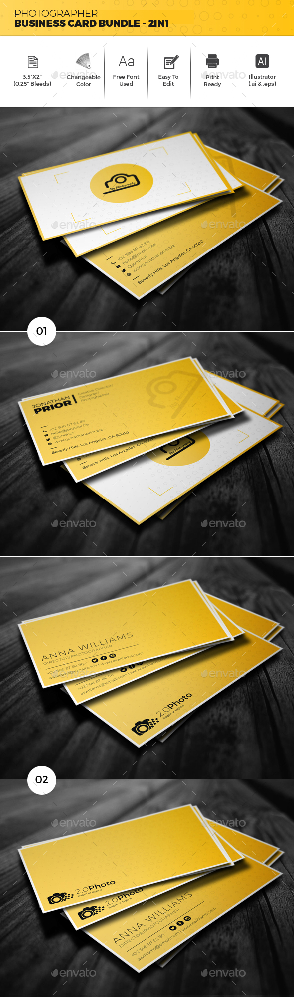 Photographer Business Card Bundle - 2in1 - Creative Business Cards