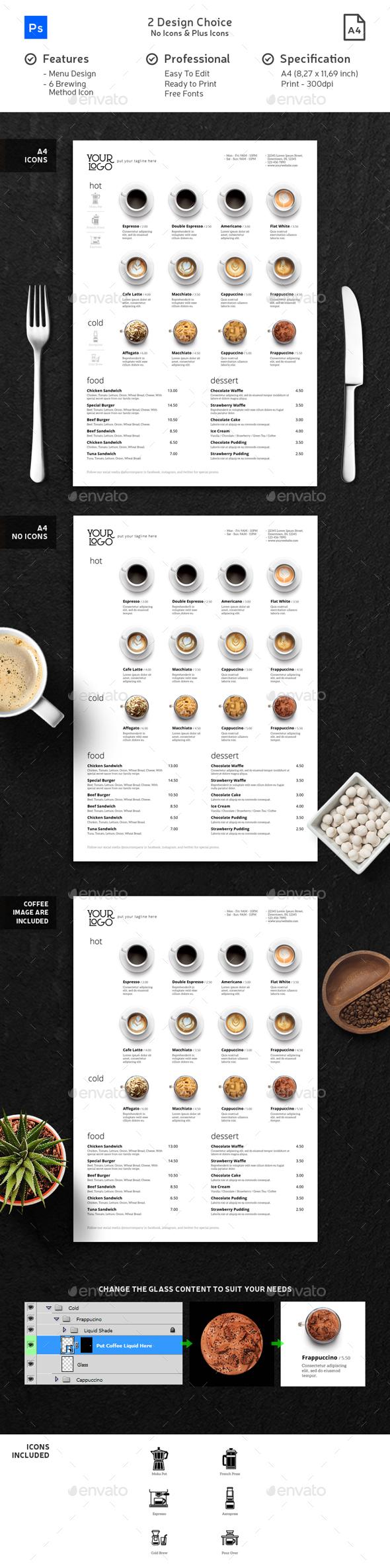 Minimalist Photography Coffee Menu - Food Menus Print Templates