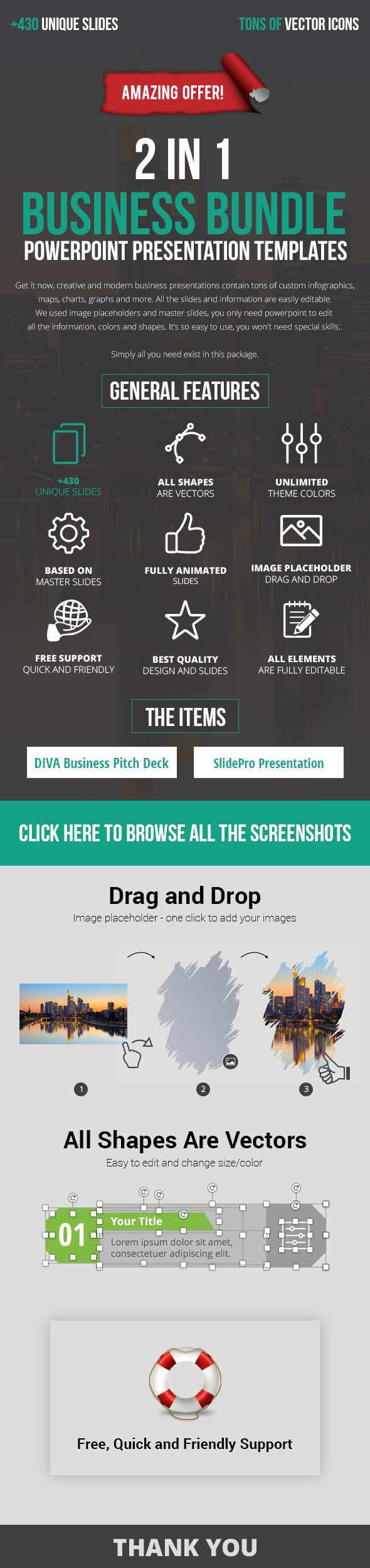 2 in 1 Business PowerPoint Presentation Bundle - Business PowerPoint Templates