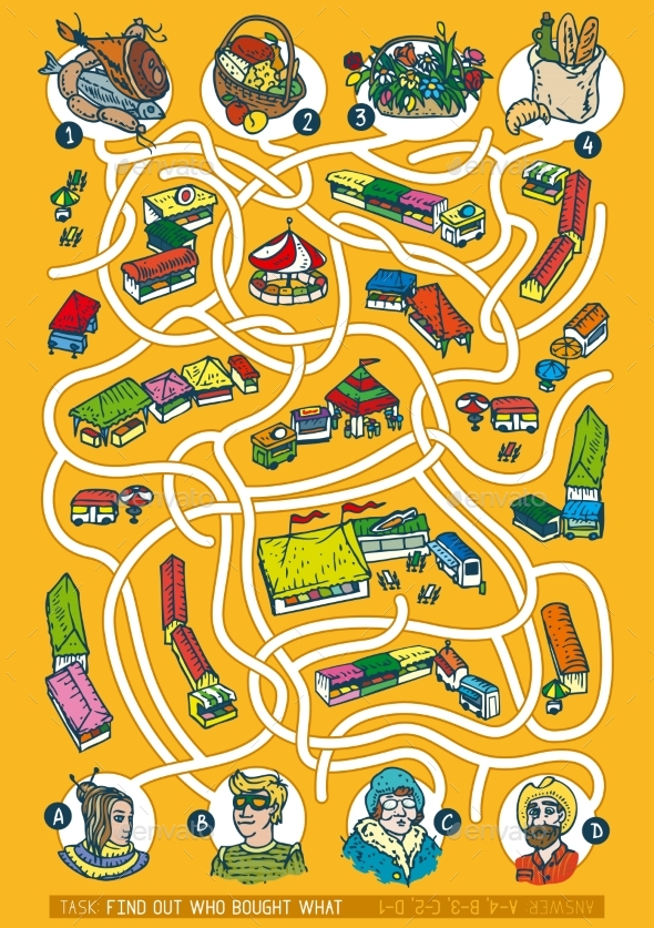 Farmers Market Maze Game - Miscellaneous Vectors