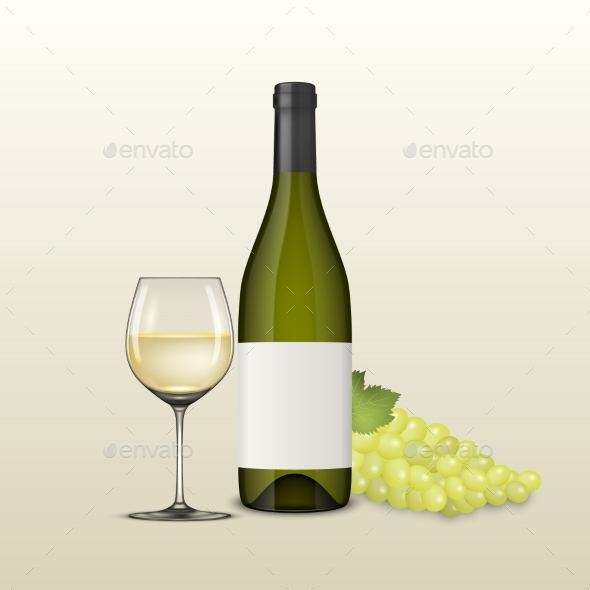 Vector Realistic Grapes Brunch, Wine Glass and - Food Objects