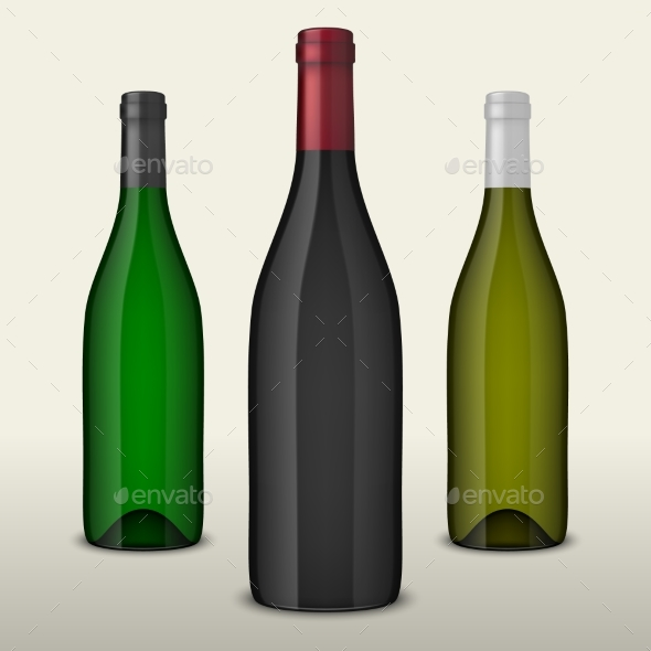 Set of Three Realistic Vector Wine Bottles Without - Food Objects