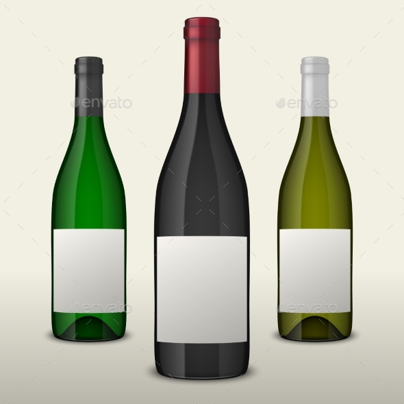 Set of Three Realistic Vector Wine Bottles with - Food Objects