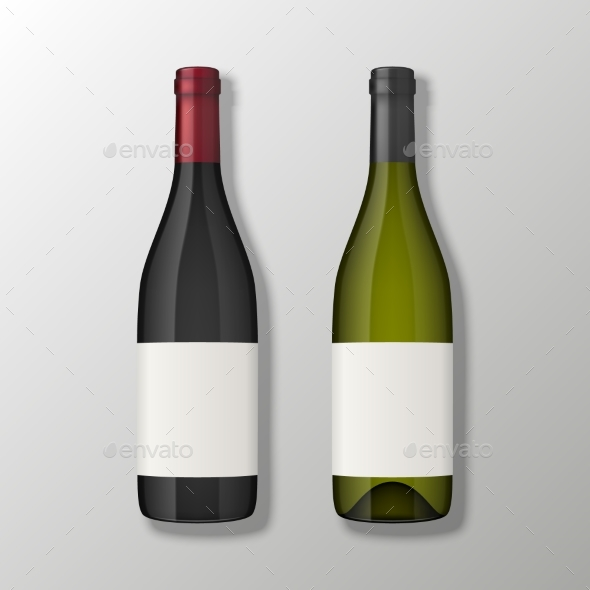 Two Realistic Vector Wine Bottles in Top View with - Food Objects