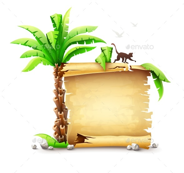 Old Paper Manuscript Bundle and Palm with Monkey Silhouette - Vectors