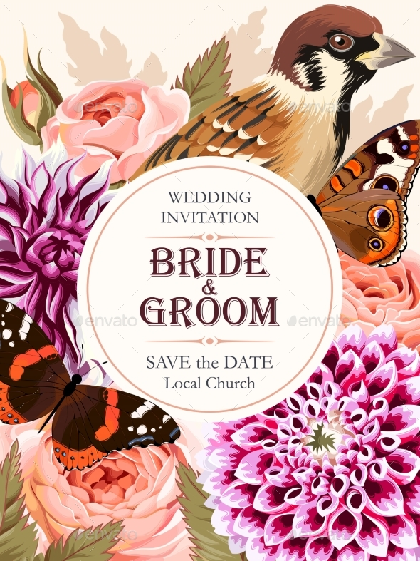 Wedding Invitation with Flowers - Flowers & Plants Nature