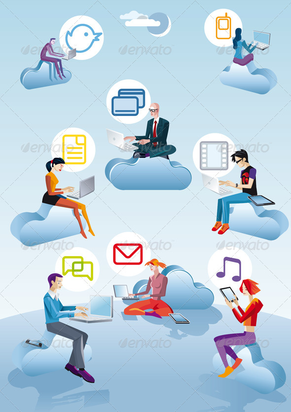 Cloud Computing Men Women And Icons - Technology Conceptual