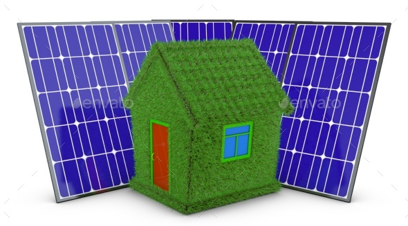House and Solar Panels - Graphics