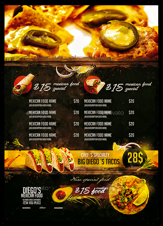 mexican restaurant menu by monkeybox