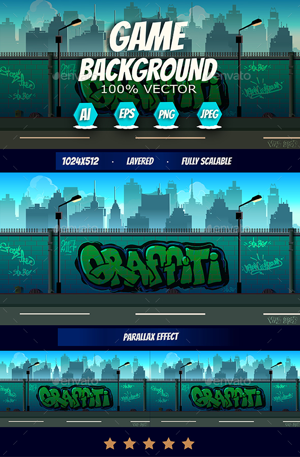 2d Graffiti Game Background - Backgrounds Game Assets
