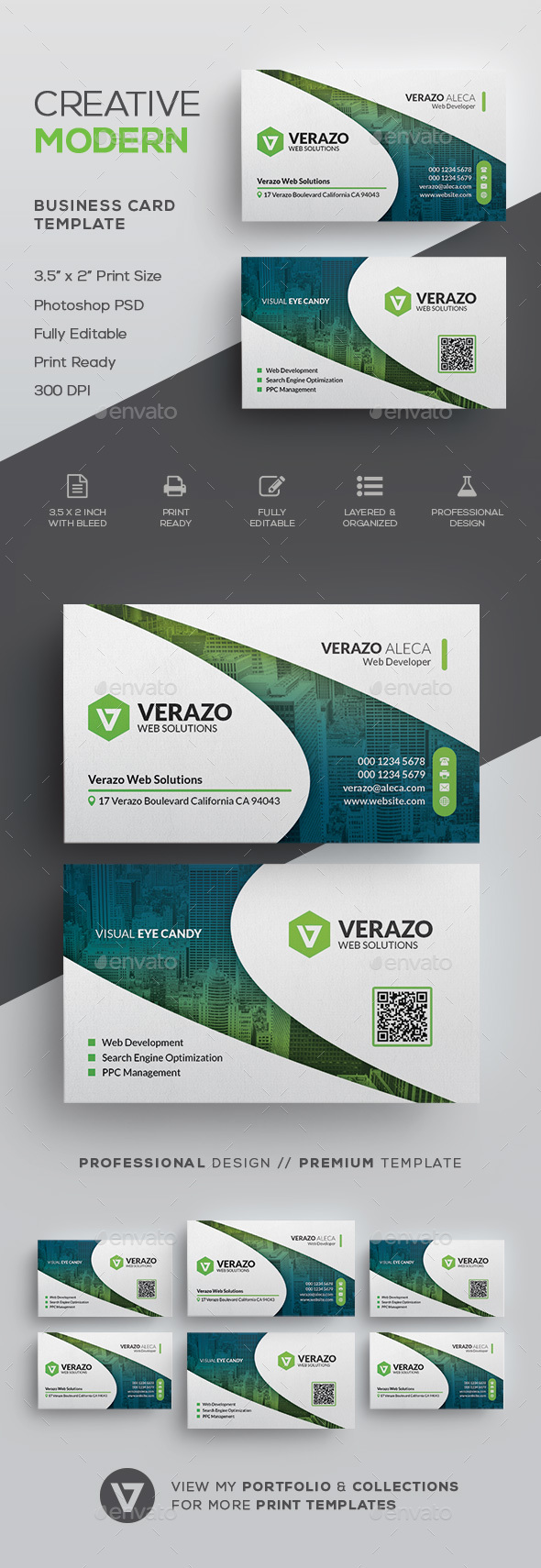 Clean Modern Corporate Business Card Template - Corporate Business Cards