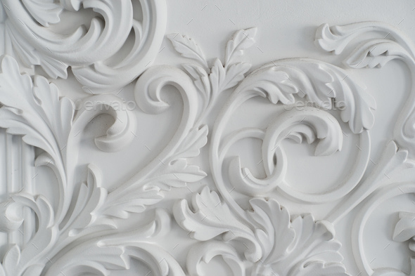 Luxury white wall design bas-relief with stucco mouldings roccoco element - Stock Photo - Images