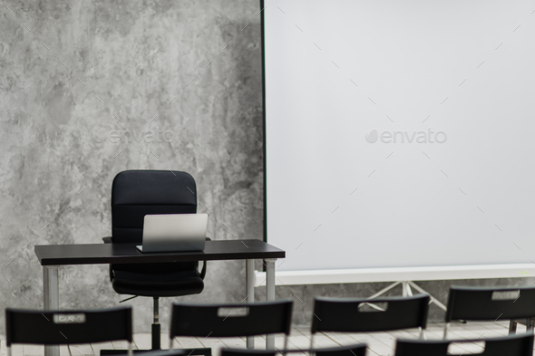 Modern university group study room with white desk and chairs - Stock Photo - Images