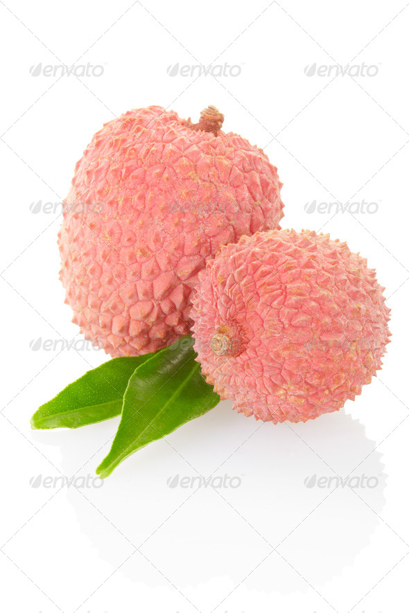 Lychees isolated on white, clipping path - Stock Photo - Images