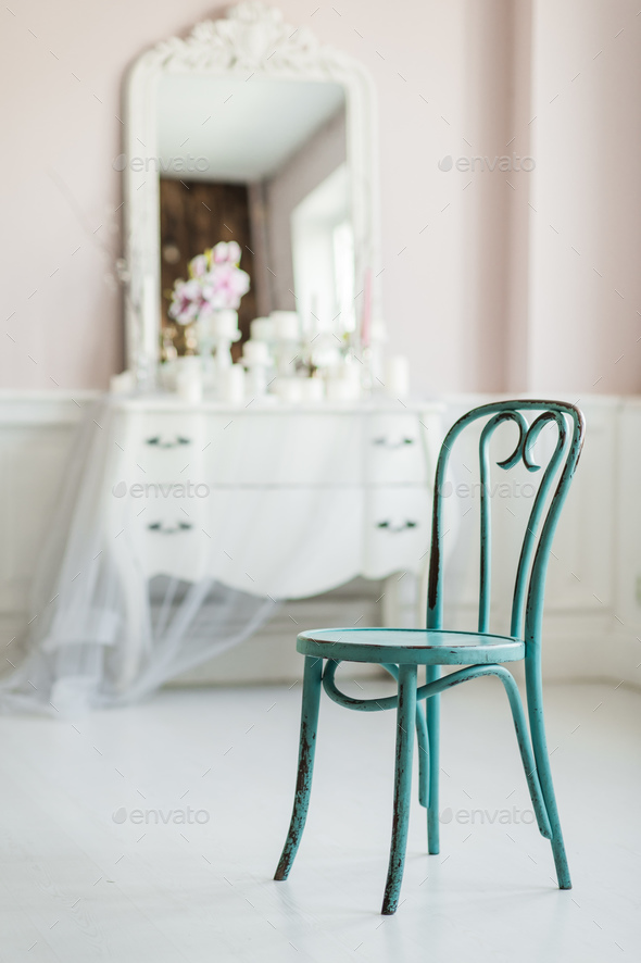 Vintage dirty wooden green elegant chair - Stock Photo - Images