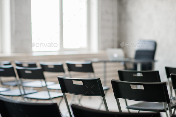 Blur Class room chair and table with white board and projector screen. white black colour concept. - Stock Photo - Images