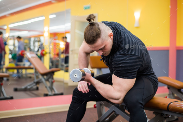 Closeup of a bodybuilder working out - Stock Photo - Images