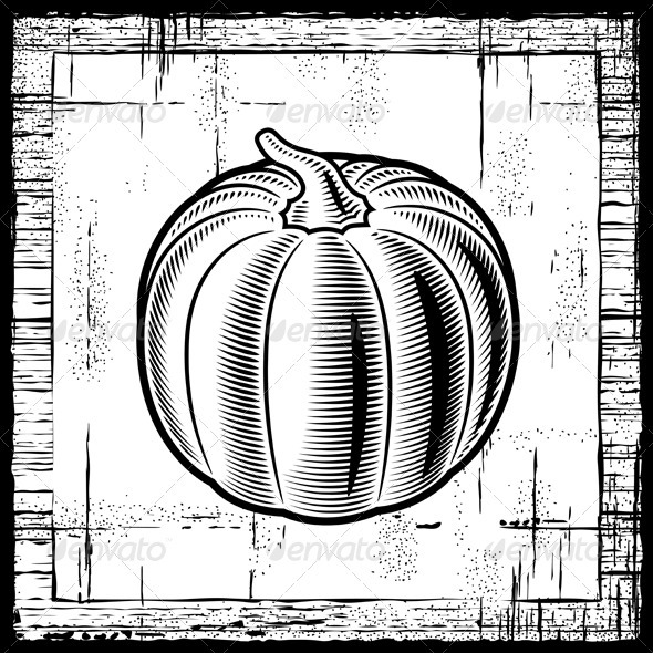 Retro Pumpkin Black And White - Food Objects