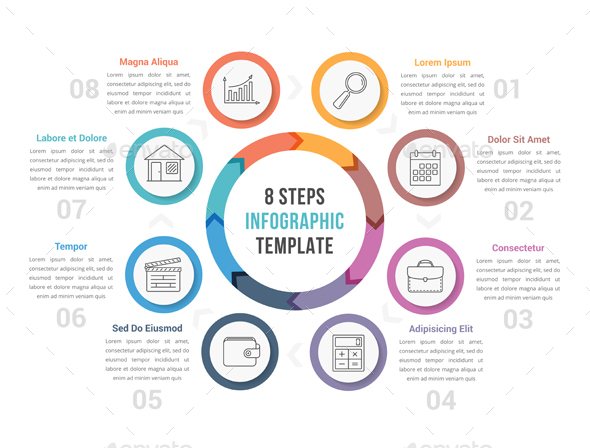 Circle Infographics with Eight Steps - Infographics