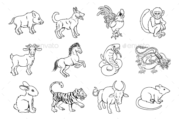 Chinese Zodiac Signs - Animals Characters