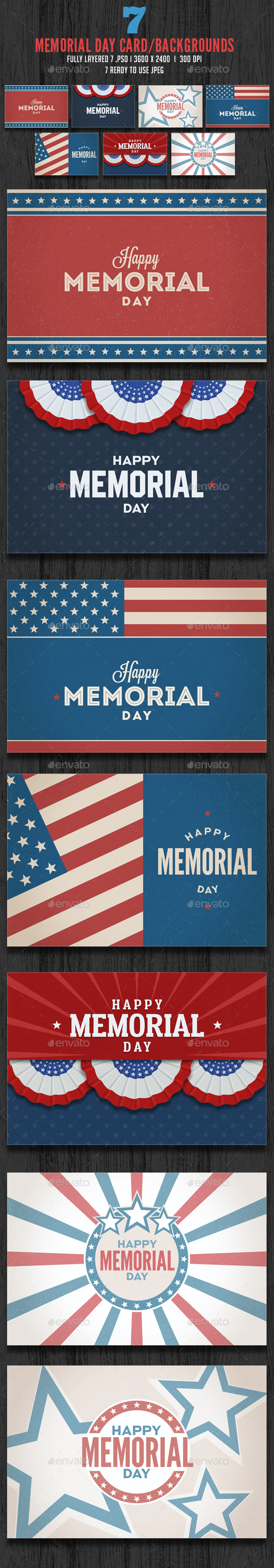 Memorial Day / July 4th Card Backgrounds - Backgrounds Graphics