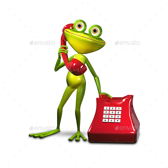 3D Illustration Frog with Red Phone - Characters 3D Renders