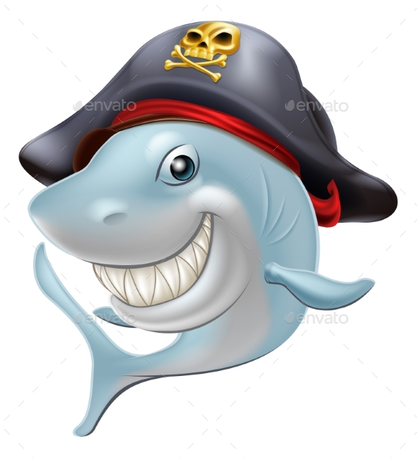 Pirate Shark Cartoon - Animals Characters