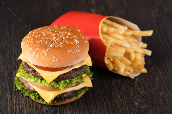 burger and french fries - Stock Photo - Images