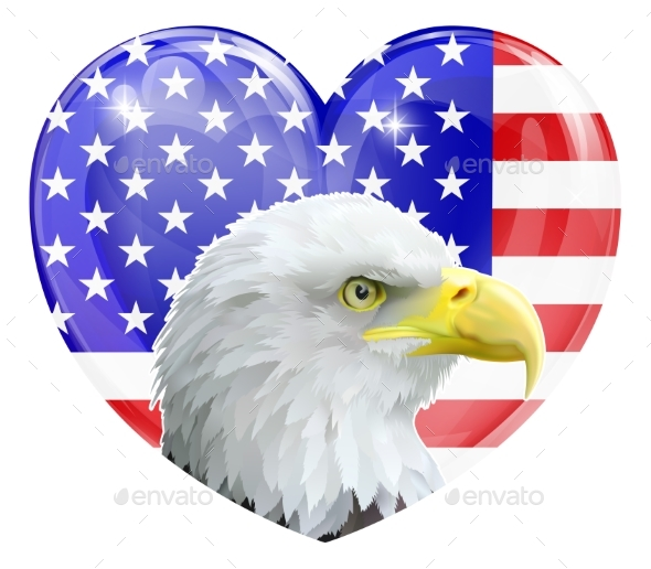 Eagle American Love Heart - Animals Characters