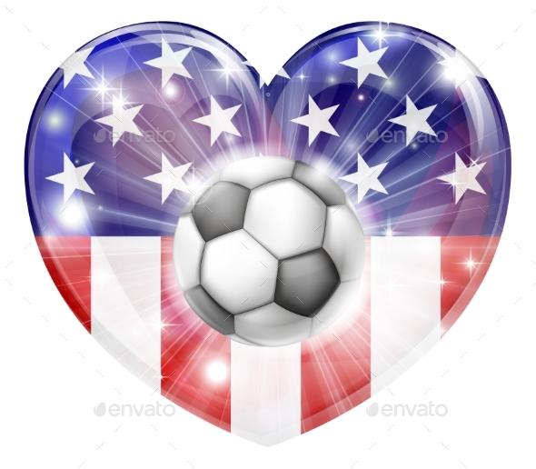 USA Soccer Heart Flag - Miscellaneous Vectors