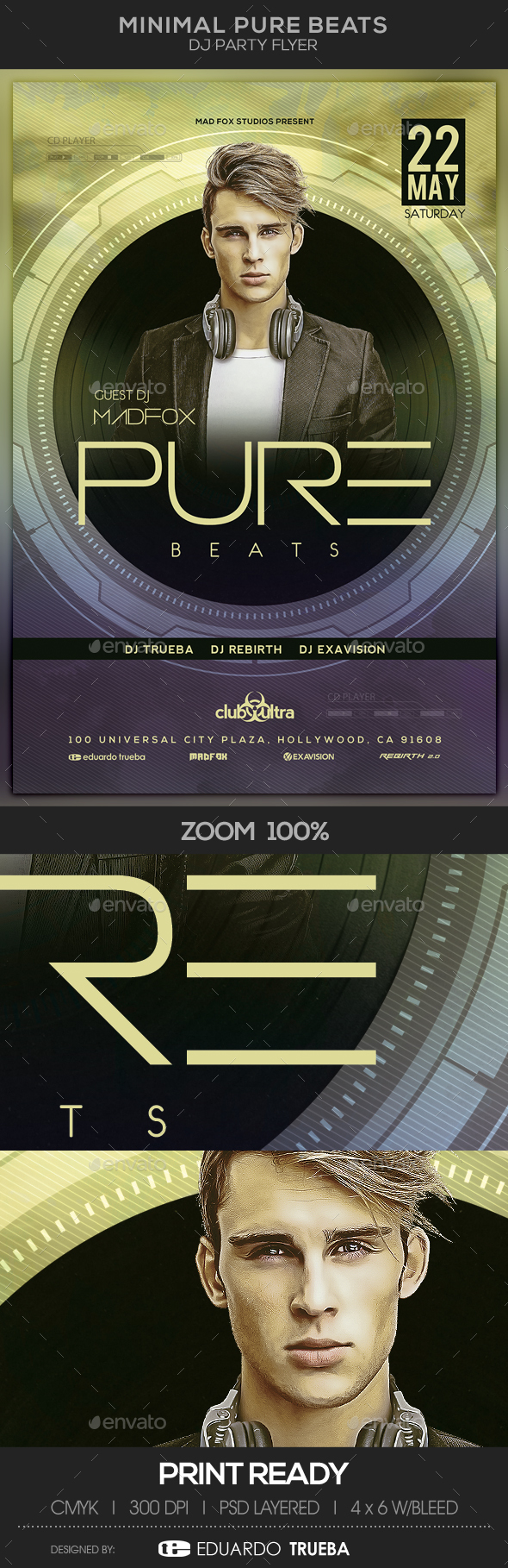 Minimal Pure Beats Dj Party Flyer - Clubs & Parties Events