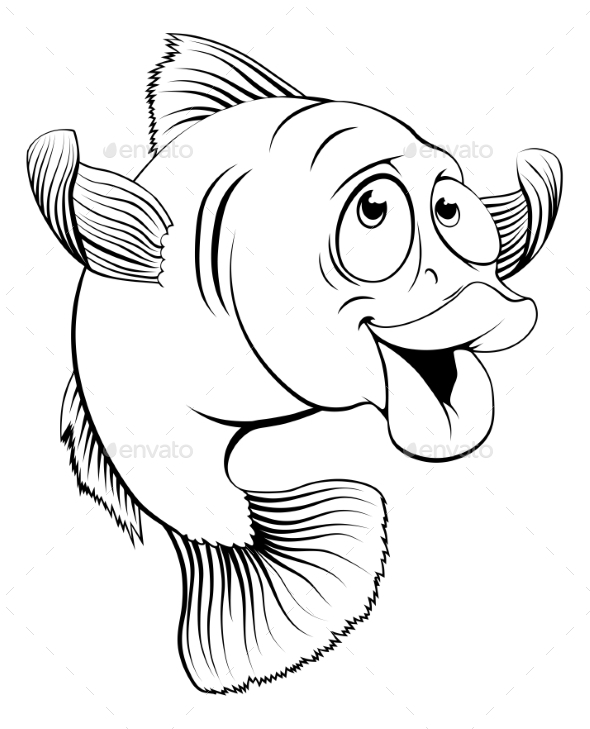 Cod Fish Cartoon - Animals Characters